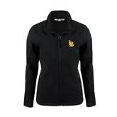 Ladies Black Softshell Jacket-Interlocking LB