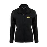 Ladies Black Softshell Jacket-Arched Beach