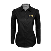 Ladies Black Twill Button Down Long Sleeve-Arched Beach
