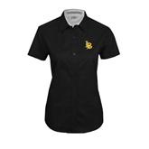 Ladies Black Twill Button Up Short Sleeve-Interlocking LB