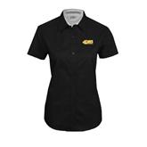 Ladies Black Twill Button Up Short Sleeve-49ers Long Beach