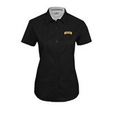 Ladies Black Twill Button Up Short Sleeve-Arched Beach