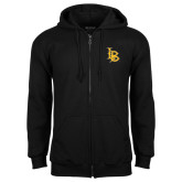 Black Fleece Full Zip Hoodie-Interlocking LB