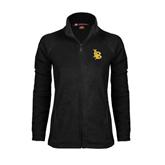 Ladies Fleece Full Zip Black Jacket-Interlocking LB