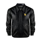 Black Leather Bomber Jacket-Interlocking LB