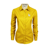Ladies Gold Twill Button Down Long Sleeve-Interlocking LB