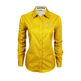 Ladies Gold Twill Button Down Long Sleeve-The Beach