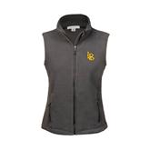 Ladies Fleece Full Zip Charcoal Vest-Interlocking LB