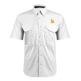 White Short Sleeve Performance Fishing Shirt-Interlocking LB