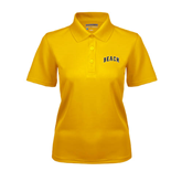 Ladies Gold Dry Mesh Polo-Arched Beach
