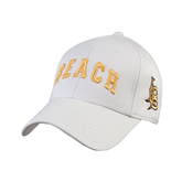White Heavyweight Twill Pro Style Hat-Arched Beach