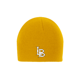 Gold Knit Beanie-Interlocking LB