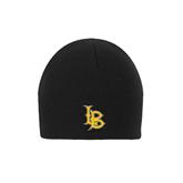 Black Knit Beanie-Interlocking LB