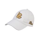 White Twill Unstructured Low Profile Hat-Interlocking LB