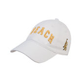 White Twill Unstructured Low Profile Hat-Arched Beach