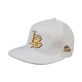 White OttoFlex Flat Bill Pro Style Hat-Interlocking LB