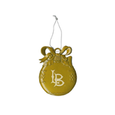 Gold Bulb Ornament-Interlocking LB Engraved