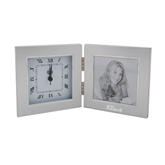 Silver Two Tone Photo Frame w/Clock-The Beach Engraved