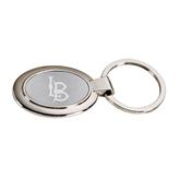 Dual Tone Mirrored Oval Key Holder-Interlocking LB Engraved