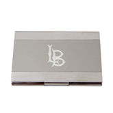 Dual Texture Silver Business Card Holder-Interlocking LB Engraved
