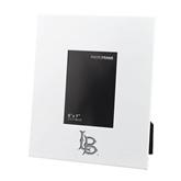 White Metal 5 x 7 Photo Frame-Interlocking LB Engraved