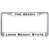 Metal License Plate Frame in Chrome-The Beach
