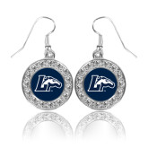 Crystal Studded Round Pendant Silver Dangle Earrings-L w/ Horse