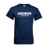 Navy T Shirt-Longwood Lancers Wordmark