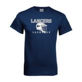 Navy T Shirt-Lacrosse Helmet Design