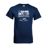 Navy T Shirt-Game. Set. Match. Tennis Design