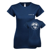 Next Level Ladies SoftStyle Junior Fitted Navy Tee-Longwood University Flat