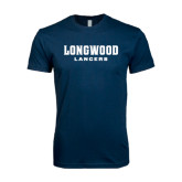 Next Level SoftStyle Navy T Shirt-Longwood Lancers Wordmark