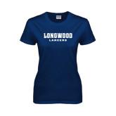 Ladies Navy T Shirt-Longwood Lancers Wordmark