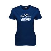 Ladies Navy T Shirt-Basketball