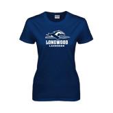 Ladies Navy T Shirt-Lacrosse