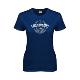 Ladies Navy T Shirt-Arched Basketball Design