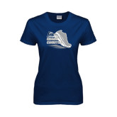 Ladies Navy T Shirt-Cross Country Shoe Design