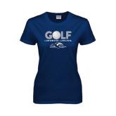 Ladies Navy T Shirt-Golf w/ Golf Ball Design