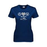 Ladies Navy T Shirt-Just Kick It Soccer Design