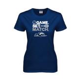 Ladies Navy T Shirt-Game. Set. Match. Tennis Design