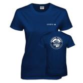 Ladies Navy T Shirt-Longwood University Flat