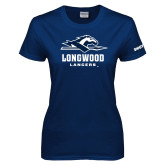 Ladies Navy T Shirt-Official Logo