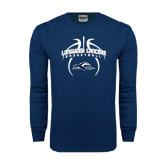 Navy Long Sleeve T Shirt-Basketball in Ball Design