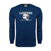 Navy Long Sleeve T Shirt-Lacrosse Helmet Design