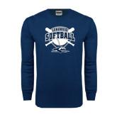 Navy Long Sleeve T Shirt-Softball Bats and Plate Design