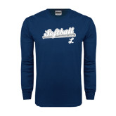 Navy Long Sleeve T Shirt-Softball Script w/ Bat Design