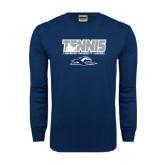 Navy Long Sleeve T Shirt-Tennis Player Design