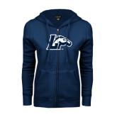 ENZA Ladies Navy Fleece Full Zip Hoodie-L Horse