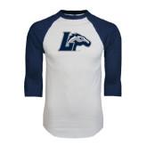 White/Navy Raglan Baseball T-Shirt-L Horse