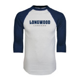 White/Navy Raglan Baseball T-Shirt-Longwood Lancers Wordmark